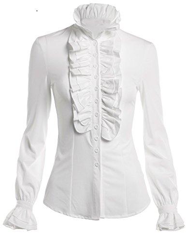 Ruffle Button Down Shirt - 3