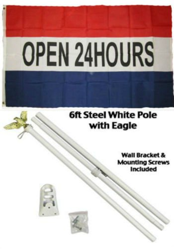 Flag 3x5 Advertising Open 24 Hours Red White Blue White Pole