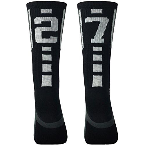 (Soccer Socks Youth,Comifun School Boy's Girl's Knee High Football Basketball Athletic Team Sports Crew ID Socks,Black/White,13-17 Age,Team Number 27 72)