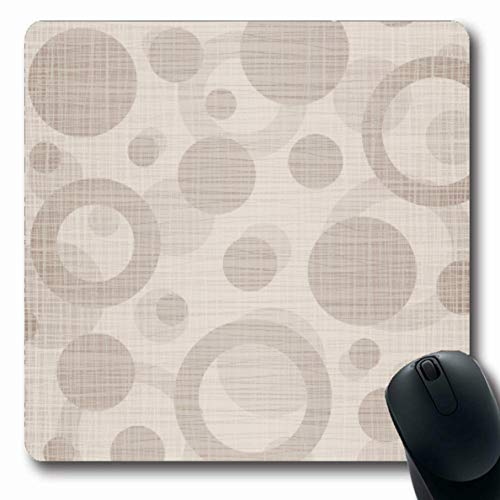 LifeCO Computer Mousepad Fiber Tan Pattern Natural Drawing Grid Circles Clip Neutral Taupe Plaid Fine Oblong Shape 7.9 x 9.5 Inches Oblong Gaming Non-Slip Rubber Mouse Pad Mat