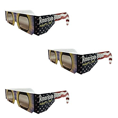 Set of 3 Solar Eclipse Glasses, ISO 12312-2 compliant and CE certified Eclipse Glasses for Direct Sun Viewing (American Flag)
