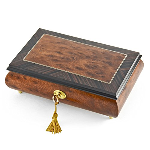 Classic Style Burl-Elm with Rosewood Border Musical Jewelry Box - .0 Holy Night by MusicBoxAttic