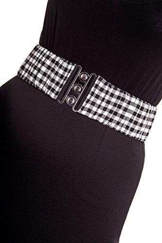 Hell Bunny Plus Rockabilly Gingham Checks Silver Retro Clasp Elastic Waist Belt (2XL) - Gingham Belt