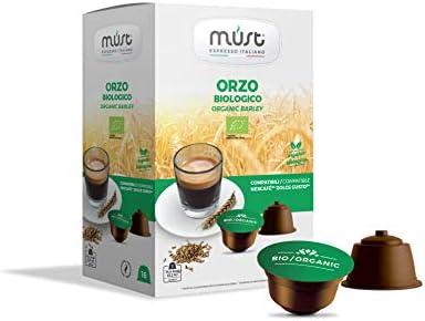 ORZO BIOLOGICO in capsule compatibili Dolce Gusto – Must Espresso Italiano – 96 CAPSULE – 16 capsule x 6 confezioni
