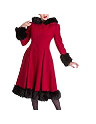 Hell Bunny Red Elvira Goth/Pin Up Faux Fur Trimmed Coat Sizes 8/XS-22/4XL