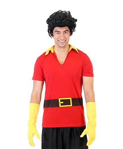 Beauty and The Beast Gaston Shirt Gloves and Wig (Adult -