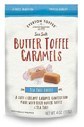 Everton Toffee Butter Toffee Caramels, Sea Salt Flavor (4 oz. bag, 3-pack). Gourmet, Artisan Soft and Creamy Toffee Caramels, Small Batch Crafted Carmel Candy Treats (Pretzel Toffee)