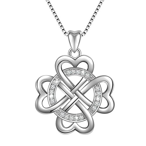 Angemiel 925 Sterling Silver Infinite Love Infinity Clover Heart Vintage Pendant Necklace, Box Chain 18
