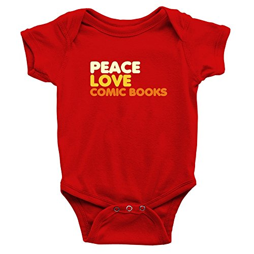 [Teeburon PEACE LOVE Comic Books Baby Bodysuit] (Comic Book Suit)