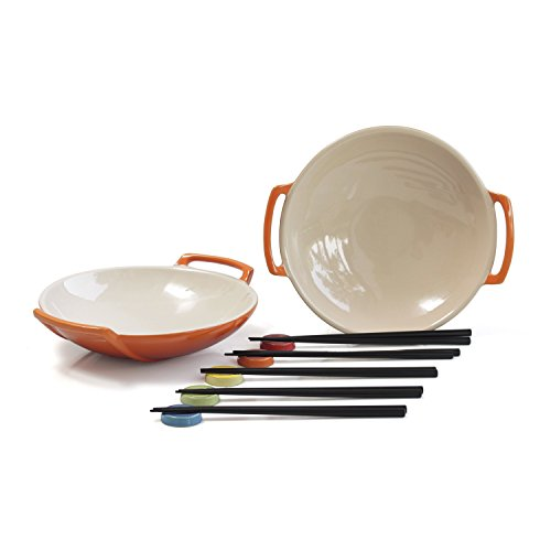 Le Creuset Flame Stoneware Set of 2 Wok Dish Set with, used for sale  Delivered anywhere in USA