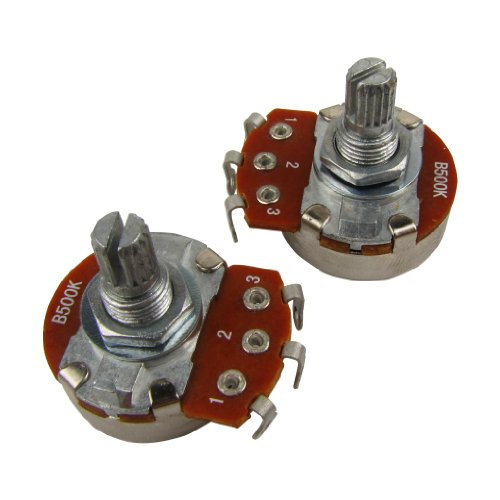 Musiclily Guitar Full Size Pots B500K Split Knurled Short 15mm Shaft Linear Taper Potentiometers for Stratocaster and Telecaster Electric Guitar Bass Parts(Pack of 2) ()
