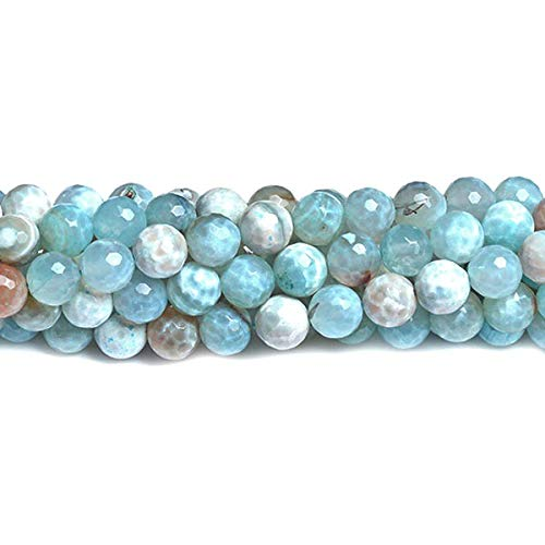 Strand 60+ Pale Blue/White Fire Agate 6mm Faceted Round Beads D01430 (Charming Beads)