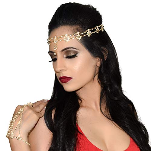 - Hair and Hand Jewelry Antique Rhinestone Crystal Gold-Tone Fashion Prom Indian Bridal Wedding Gypsy Festival Rings Boho Bands Hair Accessories Headbands Set for Women and Girl (2pc Head & Handchain)