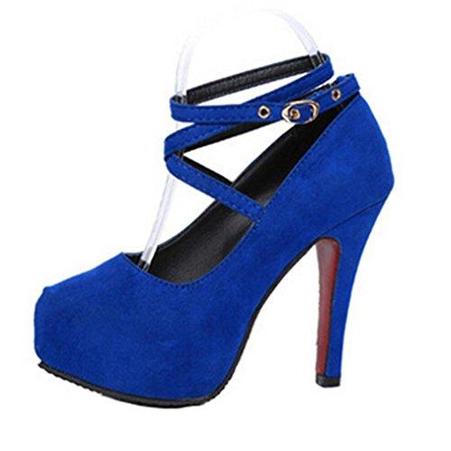 Hunpta Frauen Fisch Mund Freizeitschuhe Plattform Keile Fünfsterne Sandalen Schuhe Blau