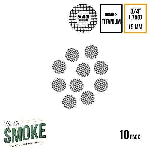 3/4 Inch Pipe Screens - Exceptional Quality Titanium Wire Mesh Filters by Up in Smoke Pipe Screens (10 Pack)