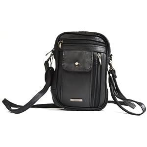 Mens Lorenz Man Bag Leather Black With Wrist & Shoulder Strap – Black