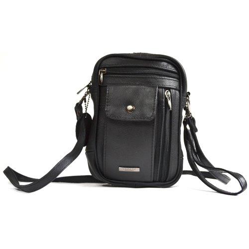 With Leather Strap Lorenz Shoulder Man Black Wrist amp; Bag Mens Black qUXatwzt