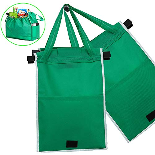 Large Reusable Tote Bags - Reusable Produce Grocery Storage, Eco-Friendly Shopping Box Bag for Transporting, Moving, Storing Fruits and Veggies (Green, 2pack)