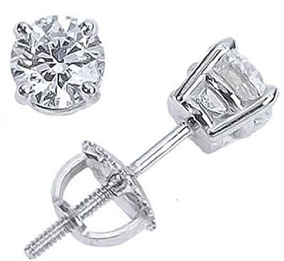 1 Carat Ideal Cut Diamond Stud Earrings 14K White Gold Round Brilliant Shape 4 Prong Screw Back (I-J Color, VS1-VS2 Clarity) from Houston Diamond District