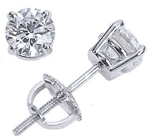 - 2/3 Carat Solitaire Diamond Stud Earrings 14K White Gold Round Brilliant Shape 4 Prong Screw Back (I-J Color, I2 Clarity)