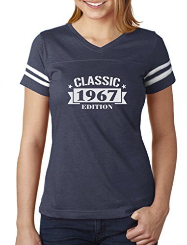 Classic 1967 Edition Funny 50th Birthday Women Football Jersey T-Shirt Medium navy/white