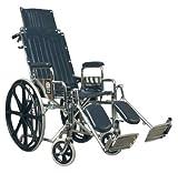 E&J 51012250 Traveler Recliner Wheelchair - 16x17 Detachable Full Arms, Elevating Legrest