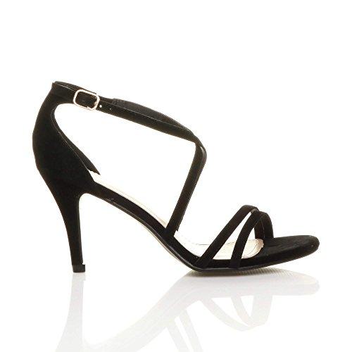 Size Sandals Women Ajvani Heel Shoes High Black Suede qBXpx4t