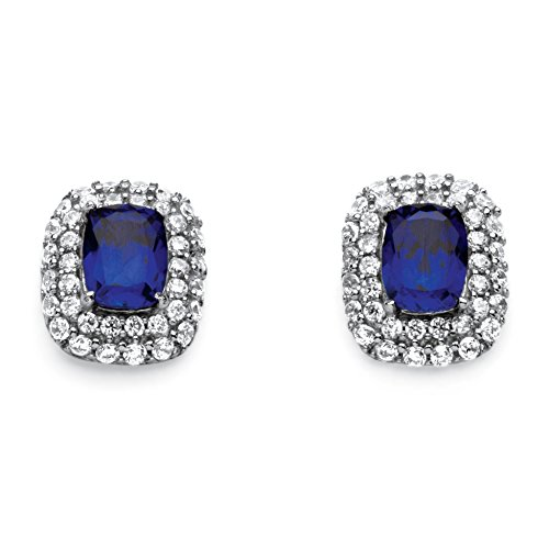 Emerald-Cut Blue Sapphire and CZ Platinum over .925 Silver Double Halo Earrings -