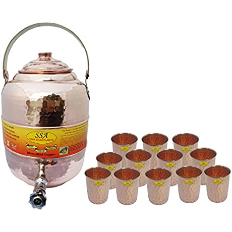 SHIV SHAKTI ARTS Pure Copper Handde Water Pot Tank With Tap With Handle 11500 Ml With 12 Glass 300 Ml Each Storage Serving Water Home Hotel Restaurant Good Health Benefit