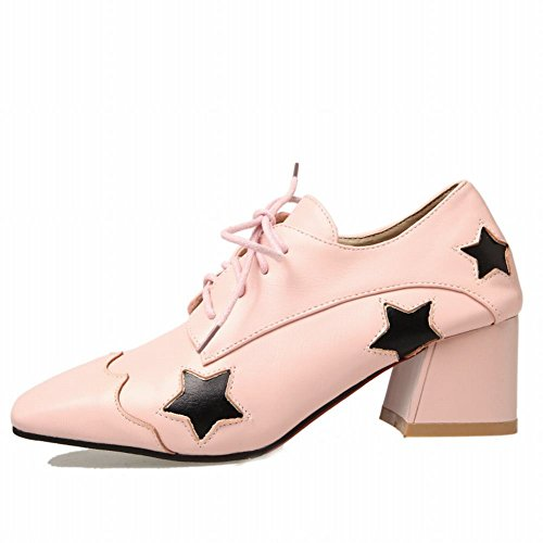 Up Casual Shoes Heel Oxfords Women's Shine Pink Show Chunky Lacing xUwg1IYq
