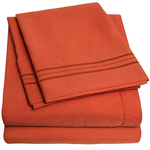 1500 Supreme Collection Bed Sheet Set - Extra Soft, Elastic Corner Straps, Deep Pockets, Wrinkle Free, Hypoallergenic Sheets Set, Luxury Hotel Bedding, California King, Rust