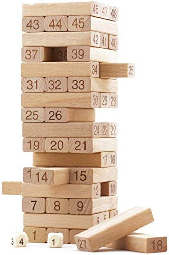 Akrobo 51 Pcs Blocks 4 Dices Wooden Tumbling Stacking