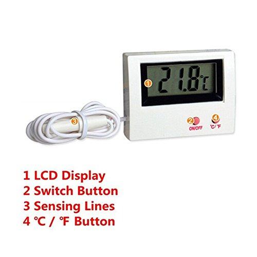 Eletrônico Display LCD Digital Indoor/Outdoor Termômetro Para Temperatura Da Água do Aquário Terrário - - Amazon.com