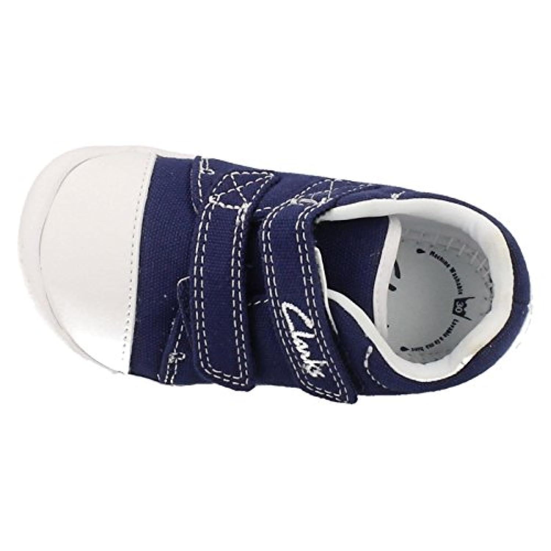 Clarks Boys Seasonal Little Chap Textile Summer Shoe In Navy Canvas Wide Fit Size 3.5