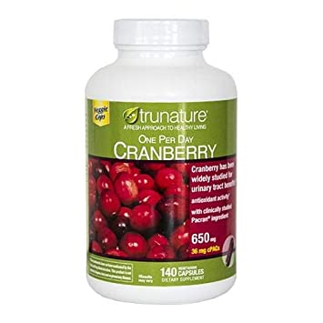 Trunature ONE PER Day Cranberry 650 mg 140 Capsules 2 Pack