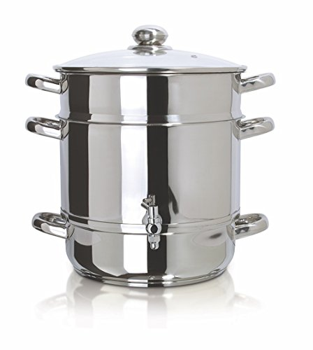 Euro Cuisine EC9500 Stove Top Steam Juicer, 8 Quarts Juice Container, Stainless ()