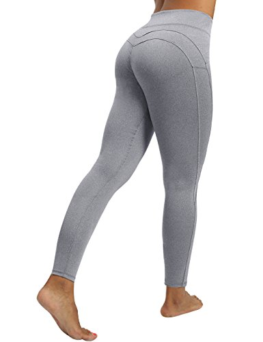 CHRLEISURE Yoga Pants for Women - High Waisted Leggings with Tummy Control, Ruched Butt and V Waist Design Capris Leggings ALGray XL Light Grey