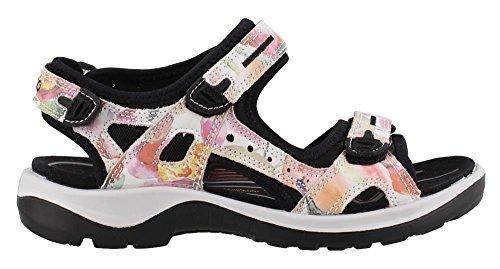 (ECCO Women's Yucatan outdoor offroad hiking sandal, white/flower print, 8 M US)