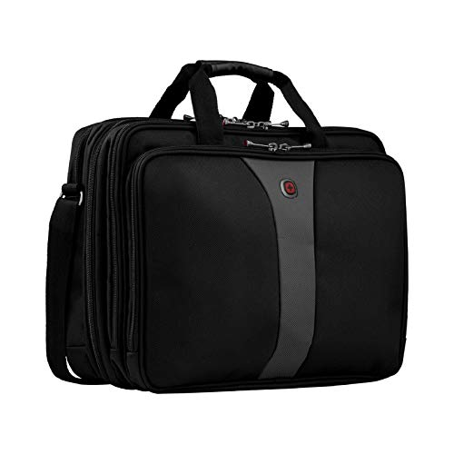 Wenger 600655 LEGACY 17-Inch Triple-Gusset Laptop Case, Airport Friendly with iPad/Tablet/eReader Pocket in Black/Grey, 21 Litres