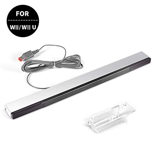 Wired Infrared Ray Sensor Bar for Nintendo Wii and Wii U Console, Aokin Replacement IR ray motion sensor bar, Includes Clear Stand