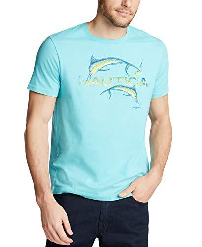 Nautica Men's Short Sleeve 100% Cotton Fish Print Series Graphic Tee, Bali Bliss, Large