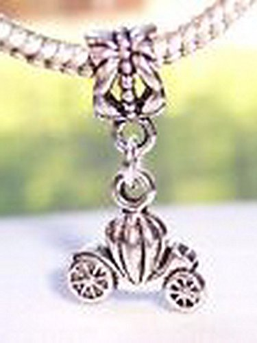 Glamorise Beads #13770 Carriage Pumpkin Princess Coach Dangle Bead for Silver European Charm Bracelets Carriage Dangle Bead