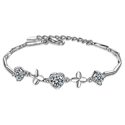 RHHY-FIROD 925 Sterling Silver Clover Ladies Bracelet with 3A Zircon Plating Process, Tail Extension Chain Design Adjustable Length