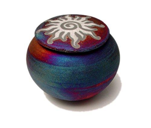 Jar Wishing (Raku Dream Catcher Jar with Sun Design on Lid (Wishing Pot))