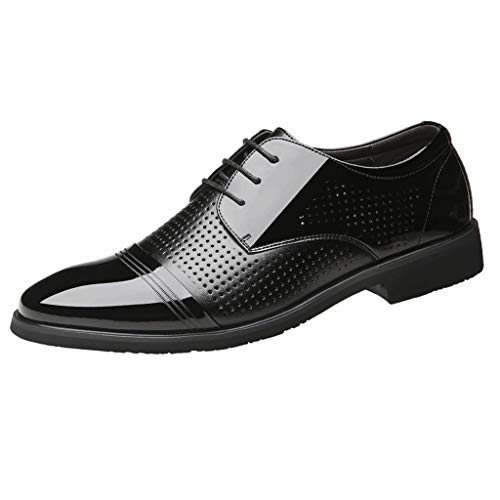 Corriee 2019 Most Wished Mens Dress Shoes Business Leather Work Shoes Flats Lace Up Breathable Footwear Black