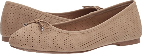 Bow Toe Flats Round (Esprit Women's Orly Closed Round Toe Perforated Bow Slip-on Ballet Flat,7.5 B(M) US,Taupe)