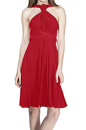 IWEMEK Women's Infinity Convertible Multi-Way Wrap Sleeveless Halter Bridesmaids Dress Short High Elasticity Cocktail Evening - Nyc Clothing Store Infinity
