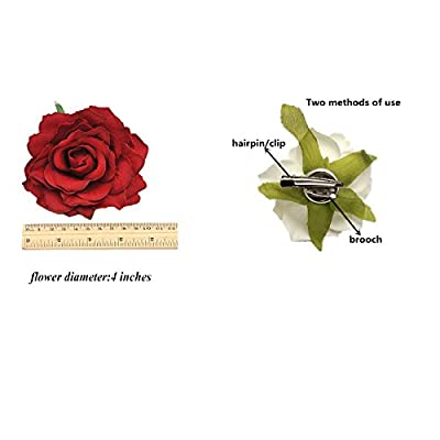 12Pcs Elegant Large Rose Flower Hair Clips Floral Brooches Pin Rose Hair Accessories For Women Girls Lady Bridal