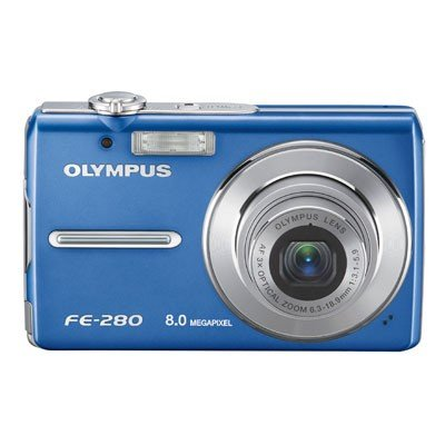 Olympus Stylus FE-280 8MP Digital Camera with Dual Image Stabilized 3x Optical Zoom (Blue)