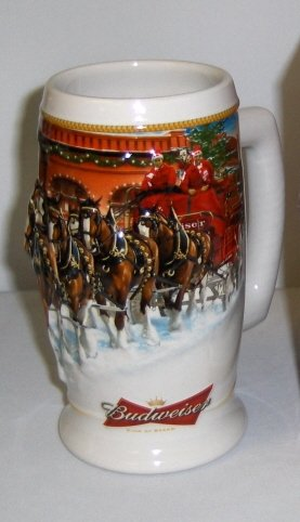 - Anheuser-Busch Budweiser Holiday Stein Series - 2006 Sunset At The Stables - Clydesdales Pulling the Holiday Beer Wagon